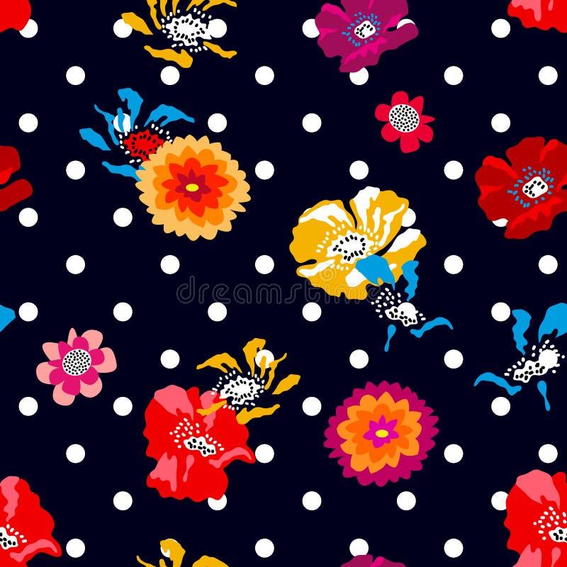 Kleurrijke papavers en asters op donkerblauwe gestippelde achtergrond royalty-vrije illustratie