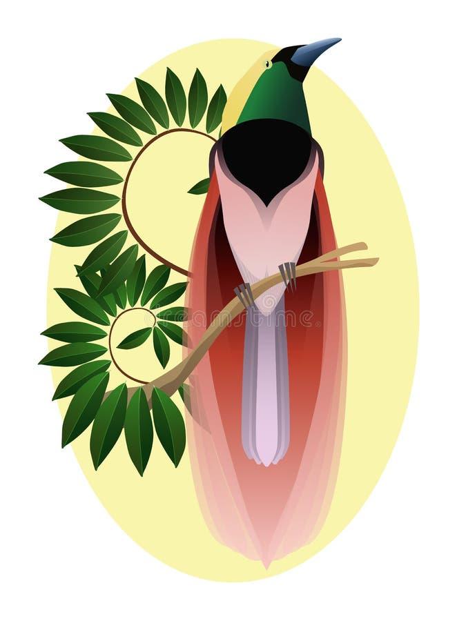 Kleurrijke paradijsvogel op een tak, zijprofiel Exotische Fauna royalty-vrije stock afbeeldingen
