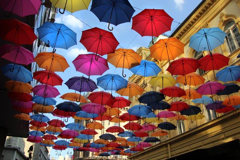 Kleurrijke paraplu's in Belgrado stock afbeeldingen