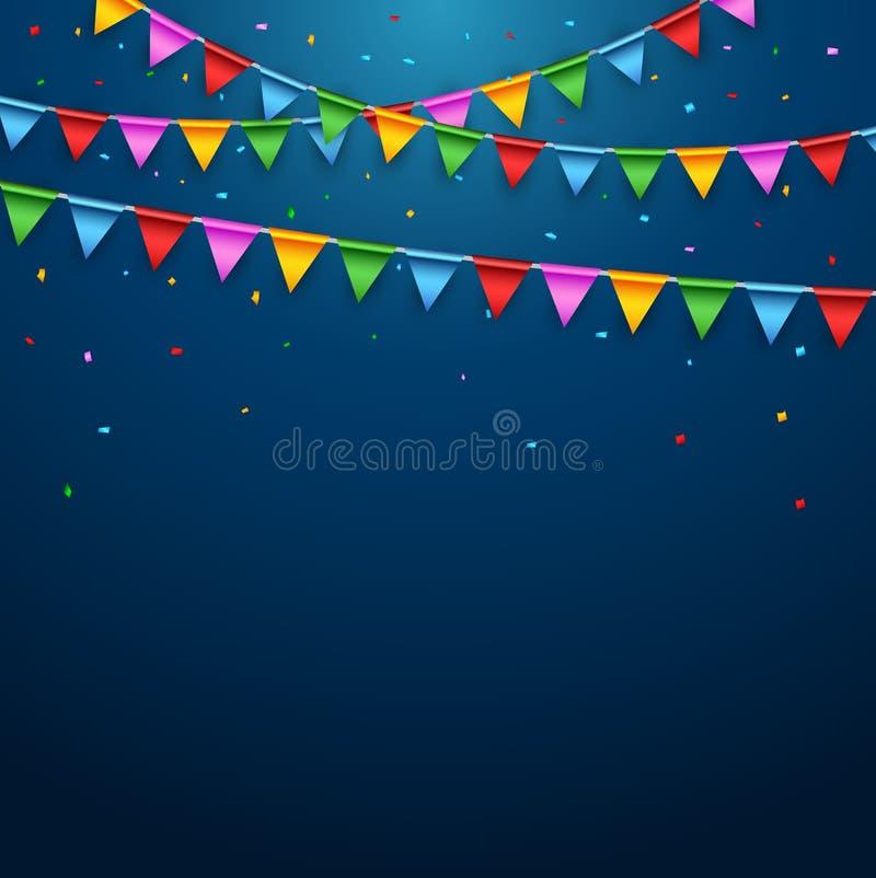 Kleurrijke partijvlaggen op blauwe achtergrond vector illustratie