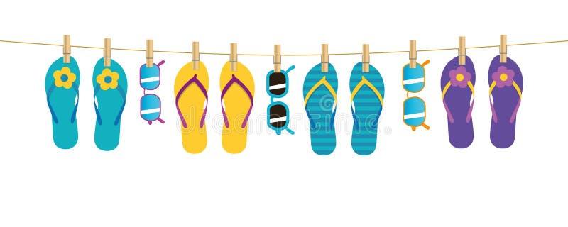 Kleurrijke patroonwipschakelaars en zonnebril die op een kabel op witte achtergrond hangen vector illustratie