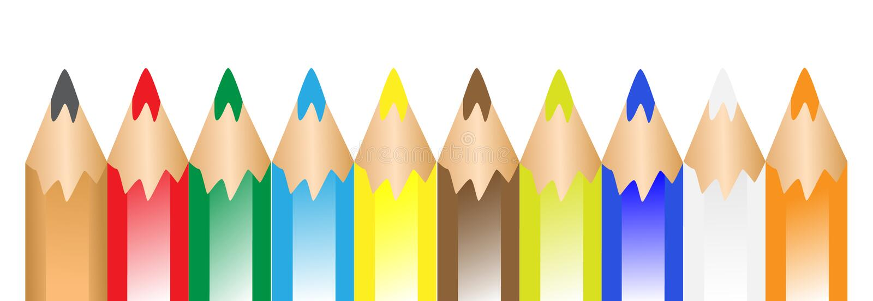 Kleurrijke pennen in een rij vector illustratie