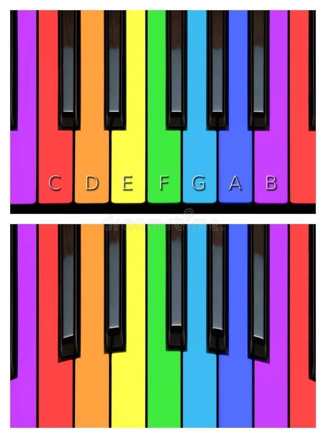 Kleurrijke pianosleutels, toetsenbord in regenboogkleuren stock illustratie