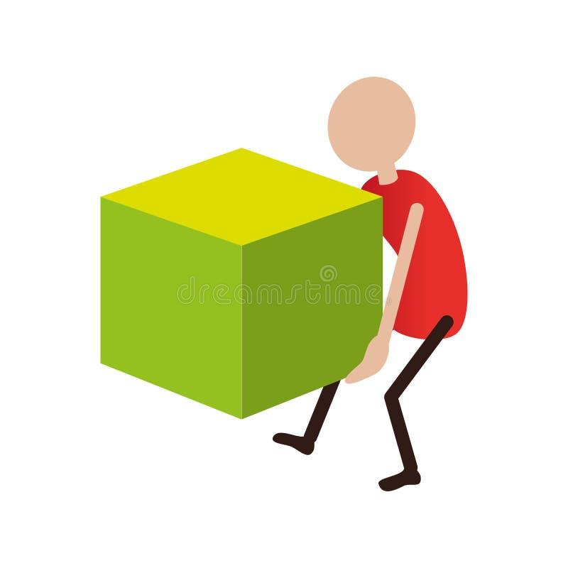 Kleurrijke pictogrammensen die een kubus dragen stock illustratie