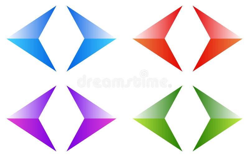 Kleurrijke pijlen, pijlpunten Glanzende, glanzende pijlsymbolen, knoop vector illustratie