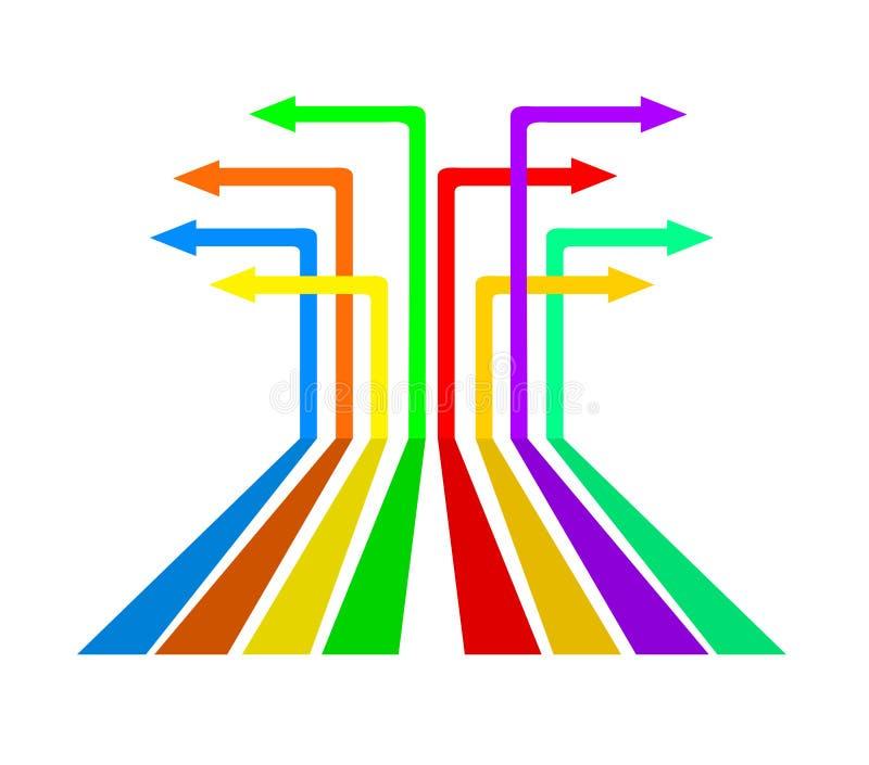 Kleurrijke pijlen in verschillende richtingen, voorraad vectorillustrati royalty-vrije illustratie