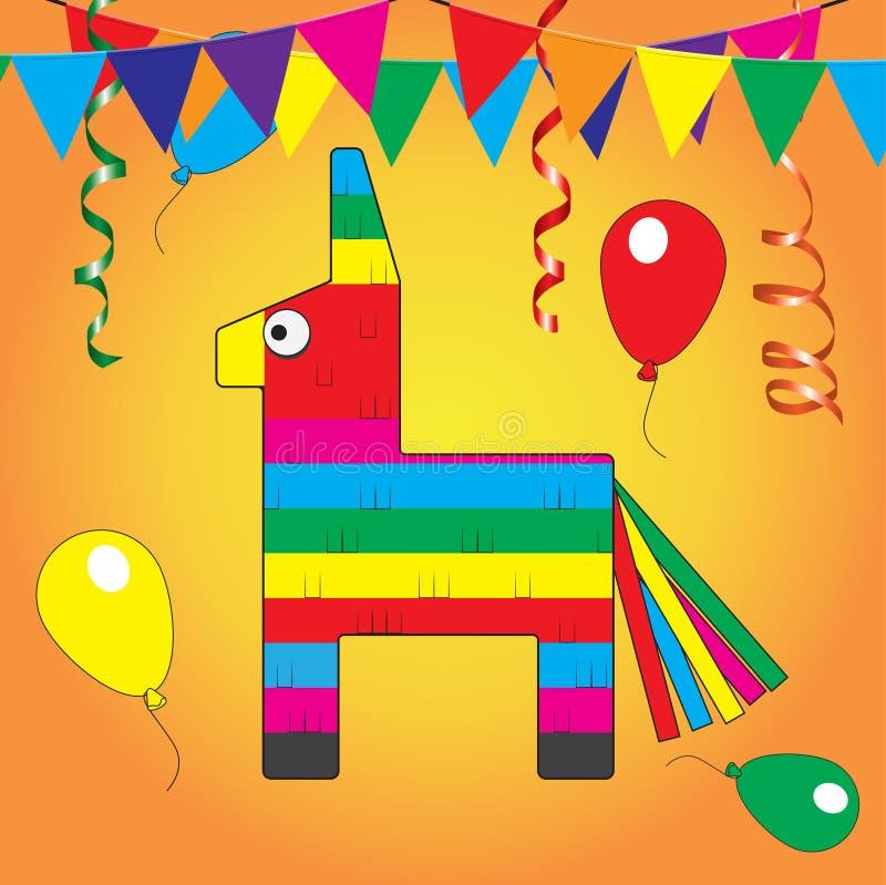 Kleurrijke Pinata Stuk speelgoed van de Mexcian het traditionele verjaardag royalty-vrije illustratie