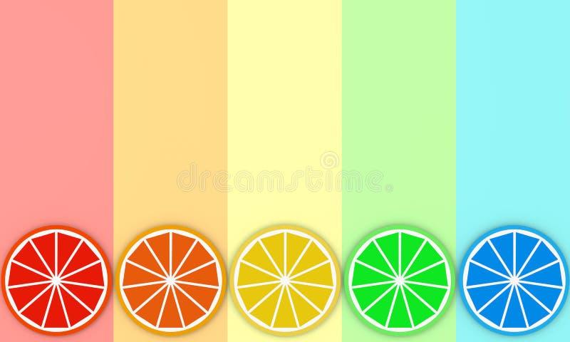 Kleurrijke plakken van sinaasappel op van de regenboogkleur 3D illustratie als achtergrond vector illustratie