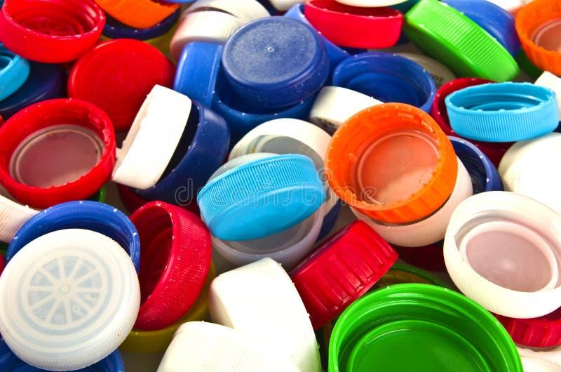 Kleurrijke plastic deksels royalty-vrije stock afbeelding