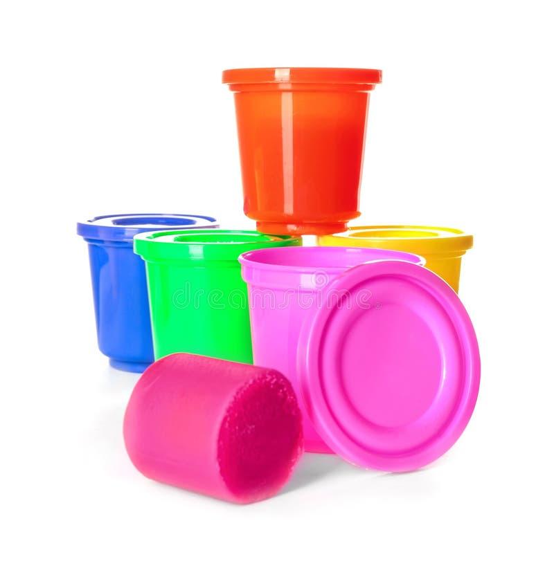 Kleurrijke plasticine en kruiken stock fotografie