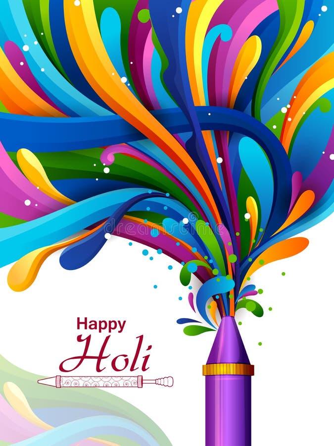 Kleurrijke plons van pichkari op Holi-achtergrond royalty-vrije illustratie