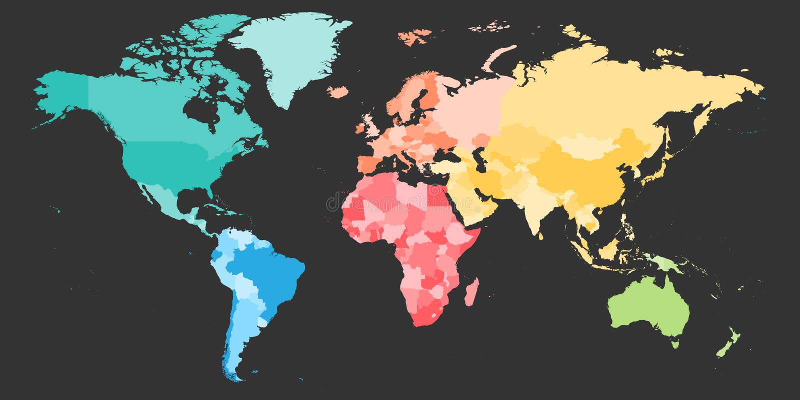 Kleurrijke politieke die kaart van Wereld in zes wordt verdeeld stock illustratie