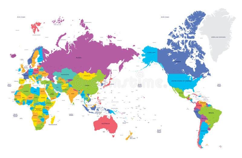 Kleurrijke politieke kaart van de wereld met grote steden, hoge detail vectorillustratie stock illustratie