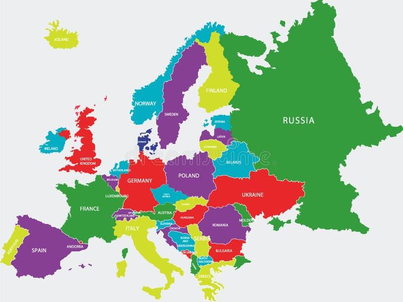Kleurrijke Politieke Kaart van Europa stock illustratie