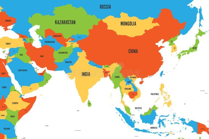 Kleurrijke politieke kaart van westelijk, zuidelijk en oostelijk Azië Eenvoudige vlakke vectorillustratie stock illustratie