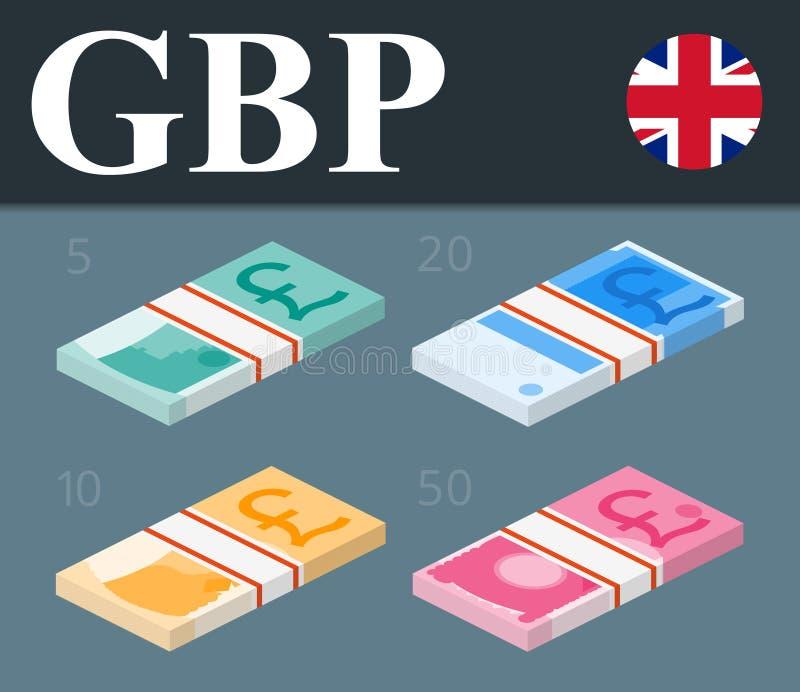 Kleurrijke pond Sterlingbankbiljetten Isometrische ontwerp vectorillustratie royalty-vrije stock afbeeldingen