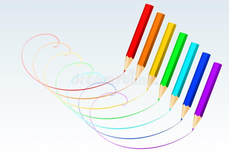 Kleurrijke Potloden stock illustratie