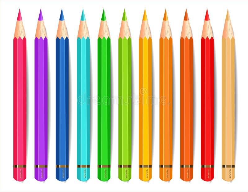 Kleurrijke potloden geïsoleerde realistische Vector Creatieve illustraties als achtergrond royalty-vrije illustratie