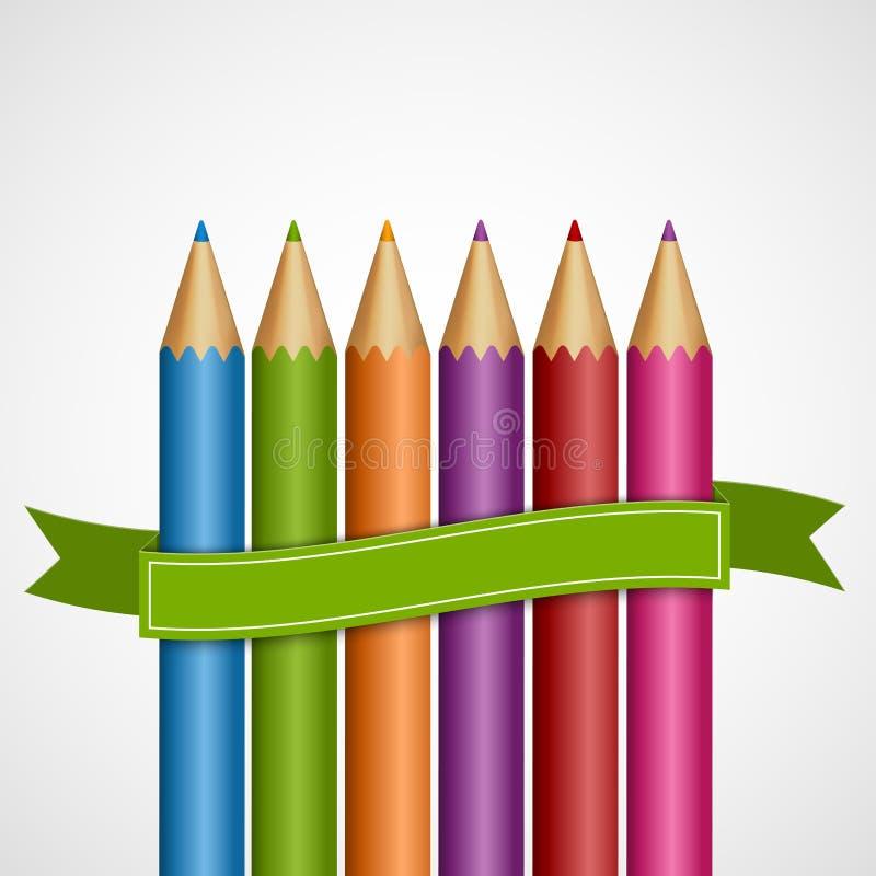 Kleurrijke potloden met groen lint vector illustratie