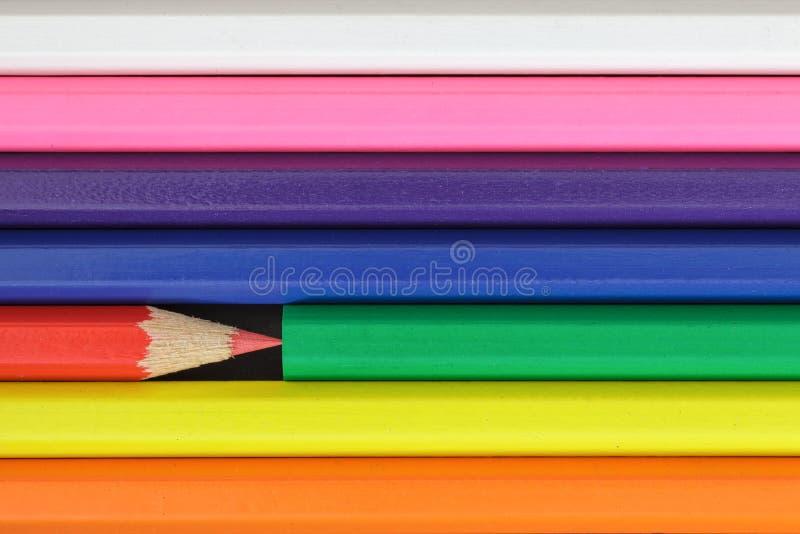 Kleurrijke Potloden Onderwijs, creativiteit en kunstconcept royalty-vrije stock afbeelding