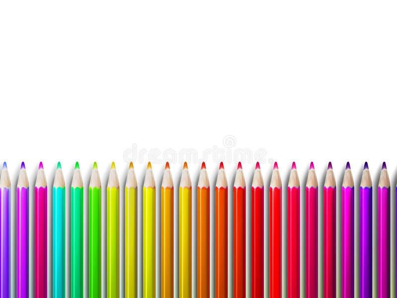 Kleurrijke potloodkleurpotloden op wit plus EPS10 royalty-vrije illustratie