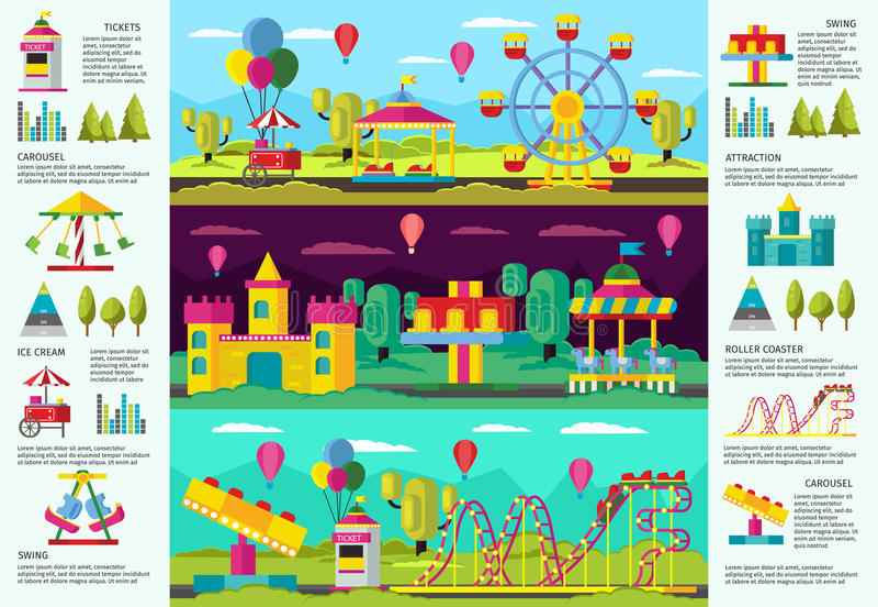Kleurrijke Pretpark infographic Banners royalty-vrije illustratie