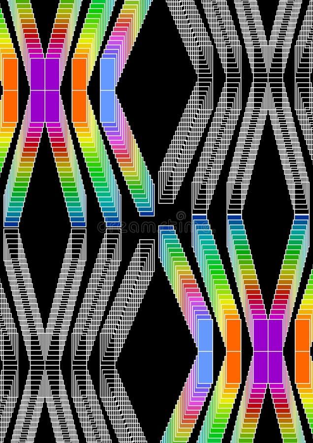 Kleurrijke psychedelische achtergrond met rechthoekornamenten in levendige kleuren, multicolored hoge tegenover elkaar stellende  vector illustratie