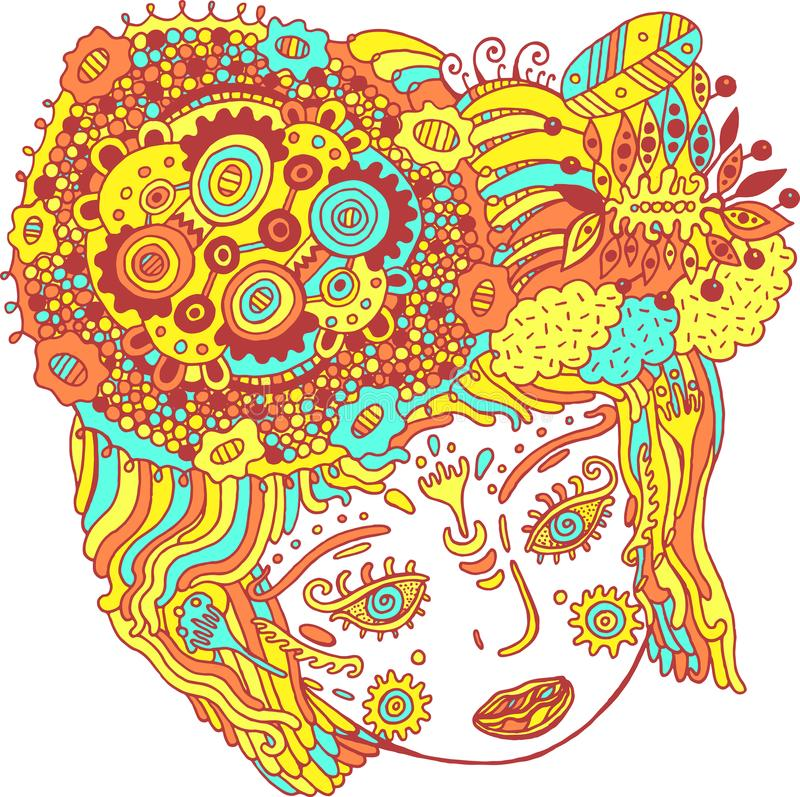 Kleurrijke psychedelische portret van het sprookje surreal meisje Krabbel su royalty-vrije illustratie