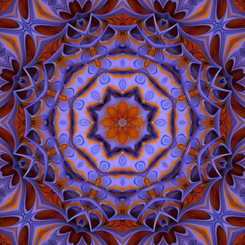 Kleurrijke purple en het goud van het Caleidoscooppatroon stock afbeeldingen