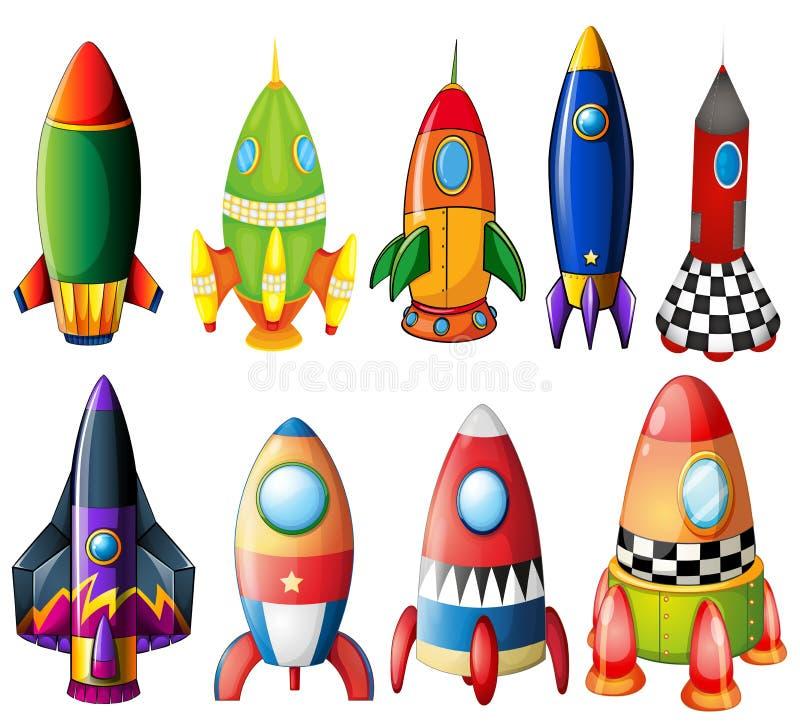 Kleurrijke raketten royalty-vrije illustratie