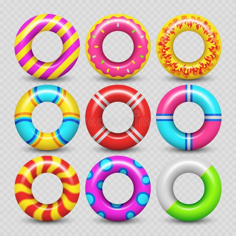 Kleurrijke realistische rubber zwemmende ring stock illustratie