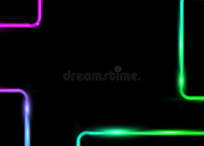 Kleurrijke rechthoekmalplaatjes met geïsoleerd neon glanzend gloeiend uitstekend kader of zwarte achtergrond De kleuren van het k royalty-vrije illustratie