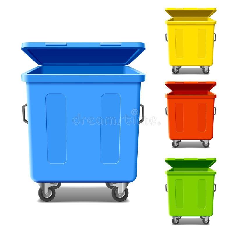Kleurrijke recyclingsbakken royalty-vrije illustratie