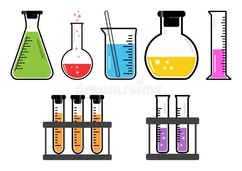 Kleurrijke reeks chemische schepen Vector illustratie vector illustratie