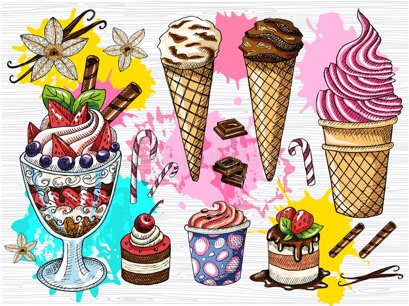 Kleurrijke reeks de vruchten van de roomijschocolade desserts Het roomijs, room, aardbeidessert, chocolade, vanillestokken, bloei stock illustratie