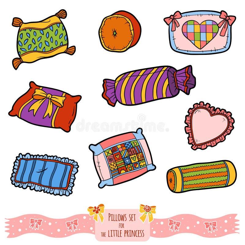 Kleurrijke reeks hoofdkussens, vectorbeeldverhaalinzameling stock illustratie
