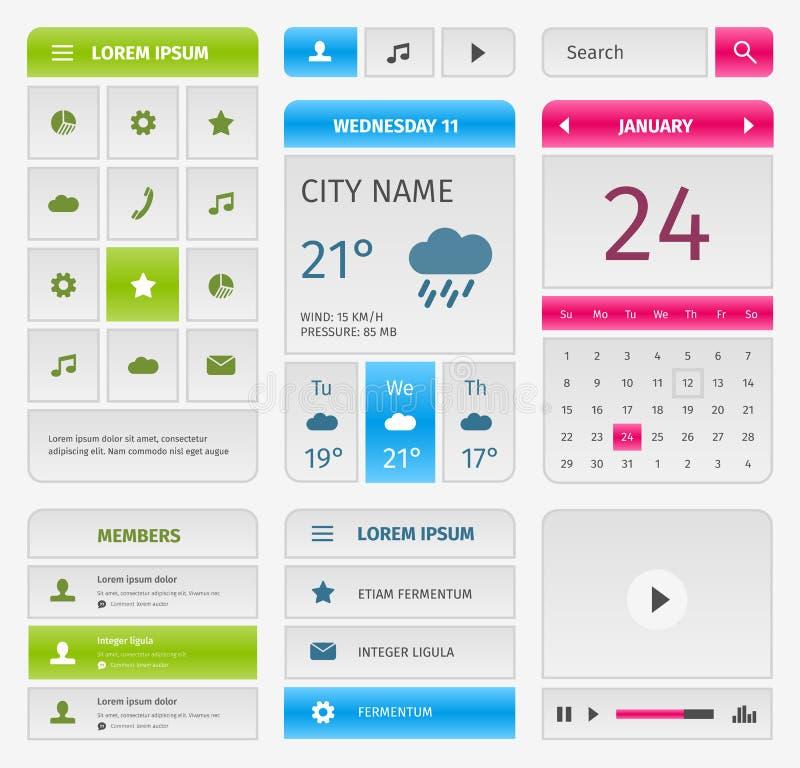 Kleurrijke reeks mobiele interfaceelementen op grijs vector illustratie