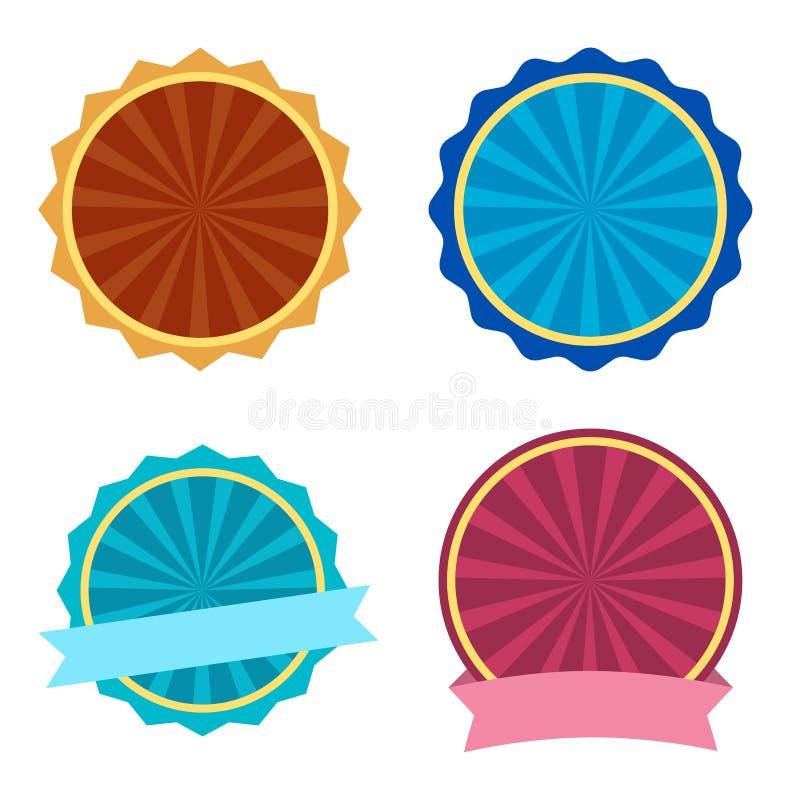Kleurrijke reeks, rond etiket met linten Vector illustratie stock illustratie