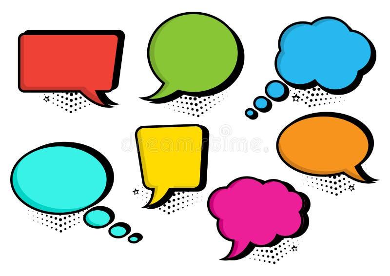 Kleurrijke reeks van de inzameling van toespraakbellen in pop-artstijl Vector illustratie stock illustratie
