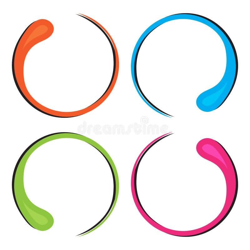 Kleurrijke reeks van decoratief rond kader voor uw tekst, grens in de vorm van een daling Vector vector illustratie
