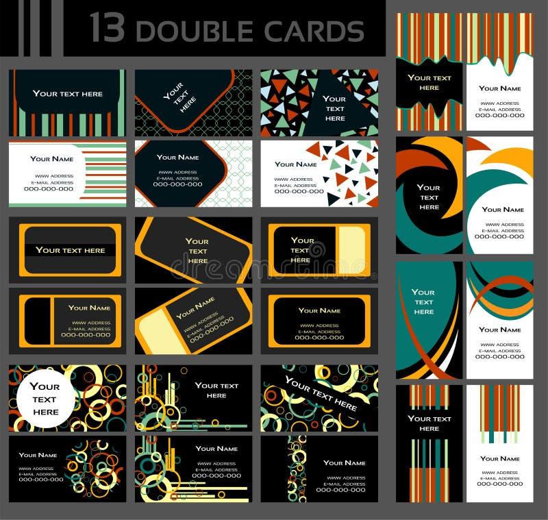 Kleurrijke Reeks Van 13 Dubbele Adreskaartjes, Royalty-vrije Stock Fotografie