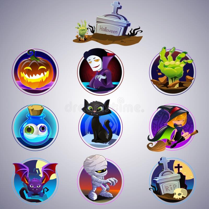 Kleurrijke reeks van Halloween-pictogram royalty-vrije illustratie