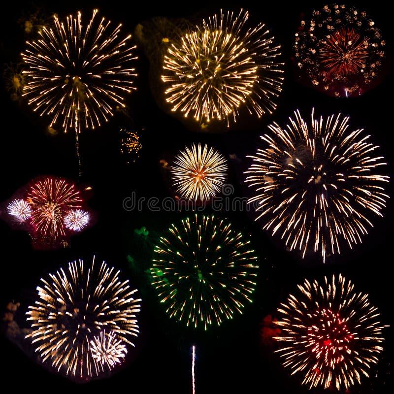 Kleurrijke reeks van negen exploderend die vuurwerk, op zwarte achtergrond wordt geïsoleerd royalty-vrije stock afbeeldingen