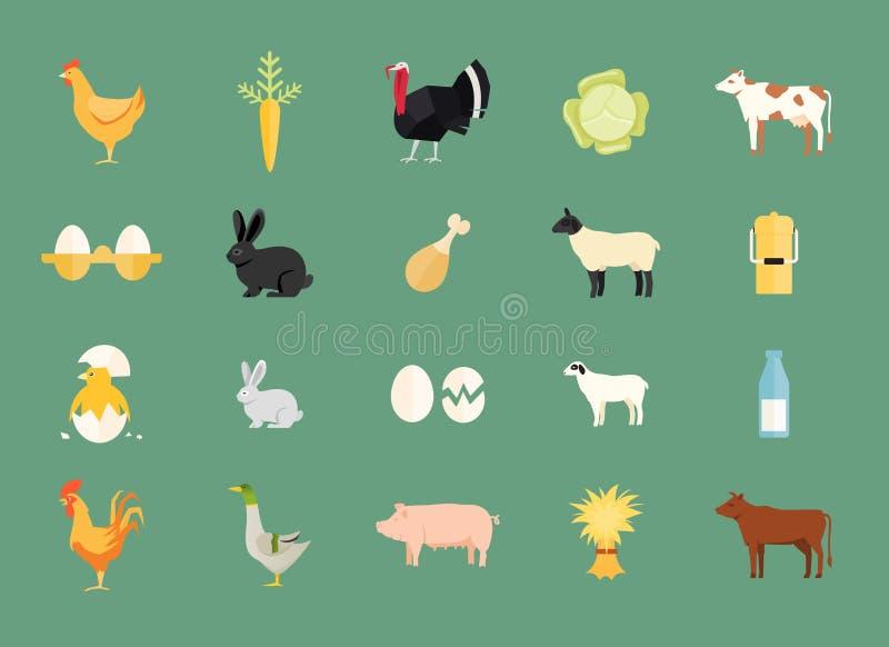 Kleurrijke reeks van vectorlandbouwbedrijfdieren en opbrengst vector illustratie