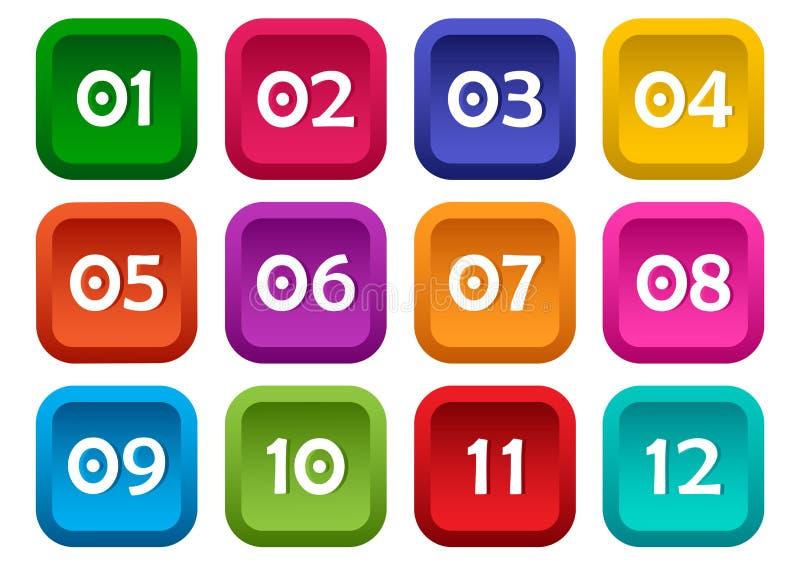 Kleurrijke reeks vierkante knopen met aantallen van 01 tot 12 Vector royalty-vrije illustratie