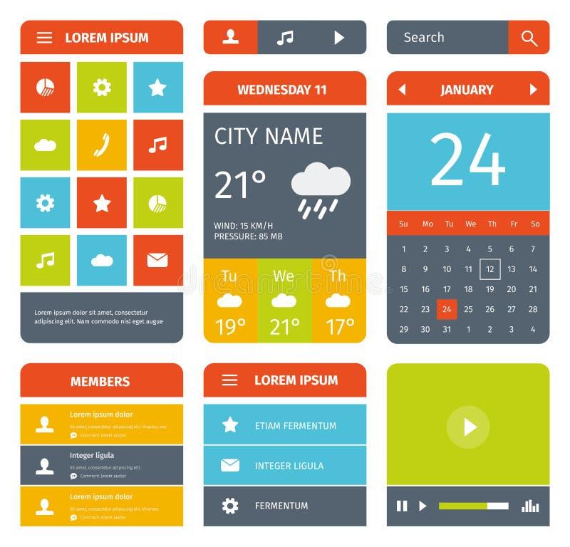 Kleurrijke reeks vlak mobiel app ontwerp en pictogrammen stock illustratie