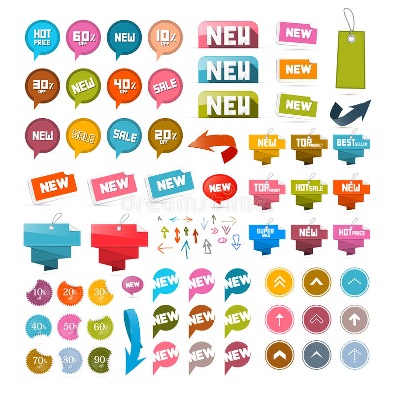 Kleurrijke Retro Document Reeks Korting en Nieuwe Vectoretiketten, Markeringen, Pijlen stock illustratie