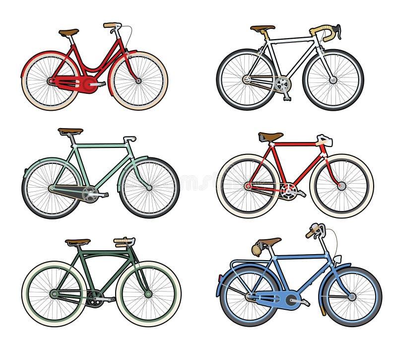 Kleurrijke retro fietsen stock fotografie