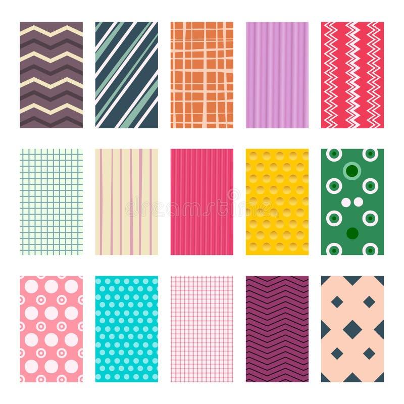 Kleurrijke Retro Geometrische Textiel of Document Geplaatste Achtergronden De Inzameling van de Achtergrondenelementen van het ve stock illustratie