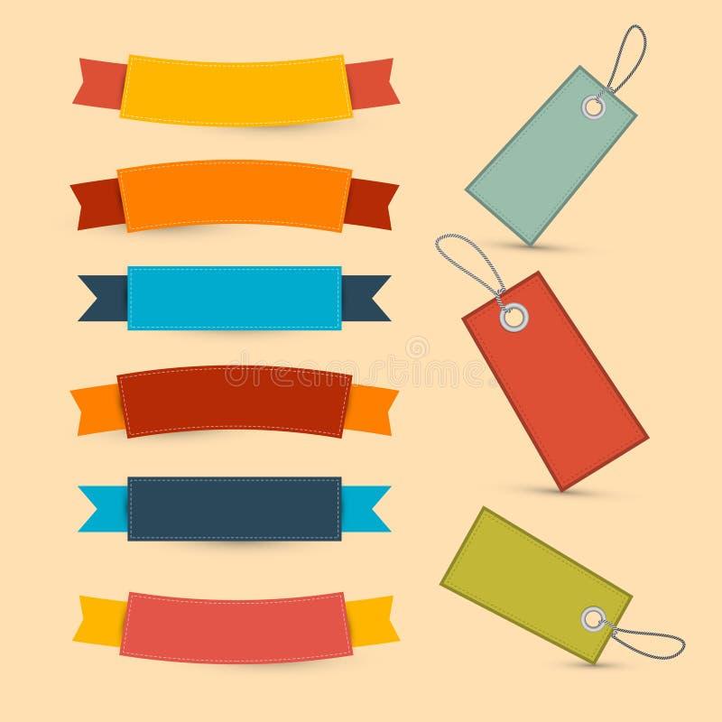 Kleurrijke Retro Linten, Geplaatste Etiketten stock illustratie